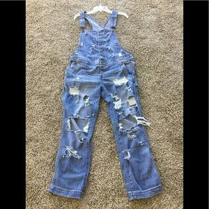 FREE PEOPLE BUTTON UP DISTRESSED DENIM OVERALLS 30